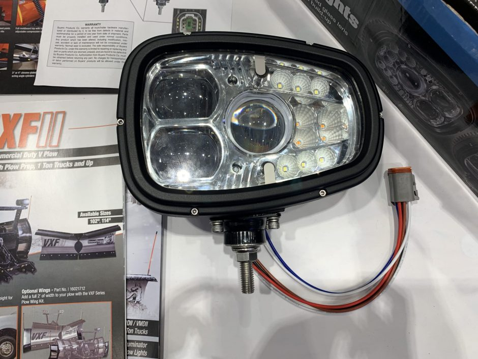 Heated LED lights are attached to the top of plows. LEDs are brighter which helps plowers see farther when plowing during dark hours.