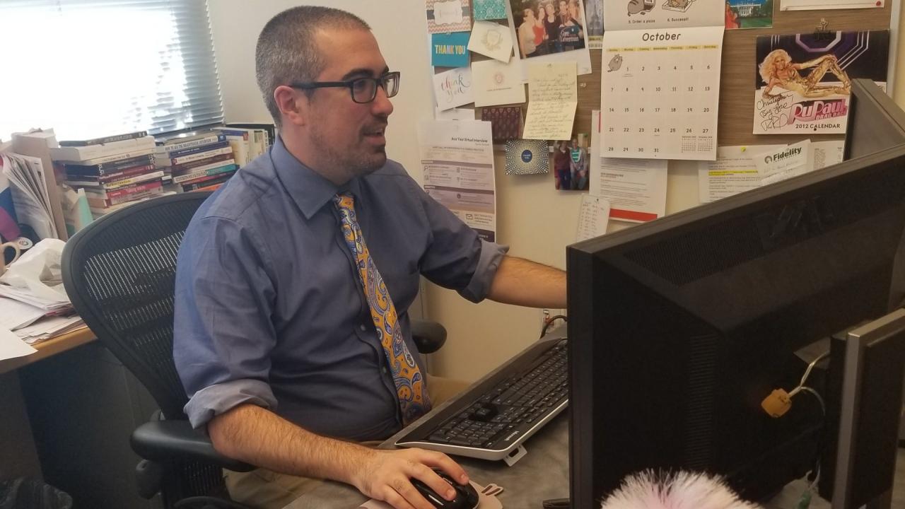 Chris Perrello at his desk