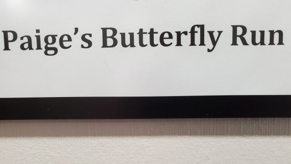 Office sign for Paige's Butterfly Run
