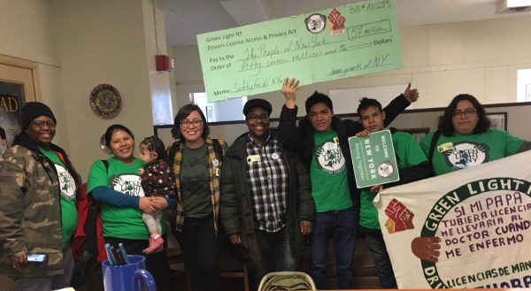 Upstate New Yorkers visit senator Rachel May and Assemblyman Bill Magnareli's office in support of the Green Light Coalition.