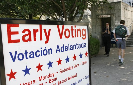 An early voting sign is shown outside the polling station in the Travis County Courthouse Wednesday, Oct. 31, 2007, in Austin, Texas.