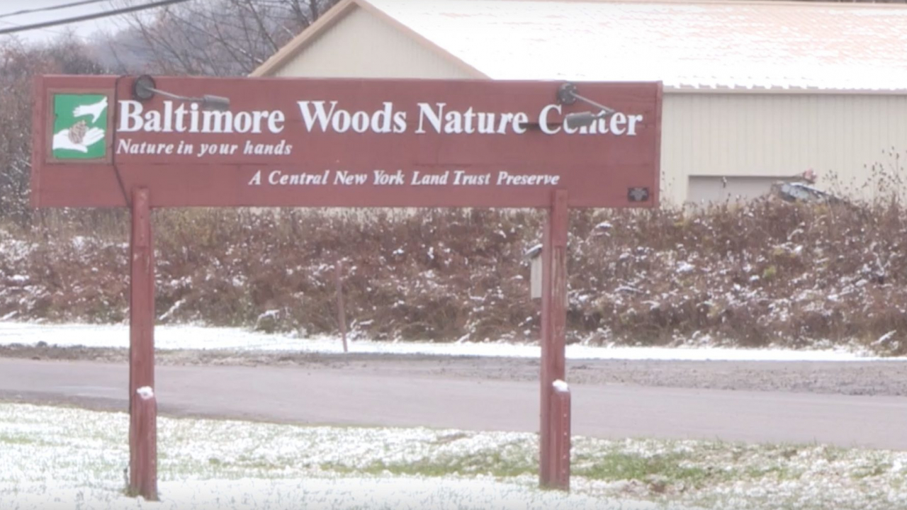 Baltimore Woods Nature Center Sign located at 4007 Bishop Hill Road in Marcellus