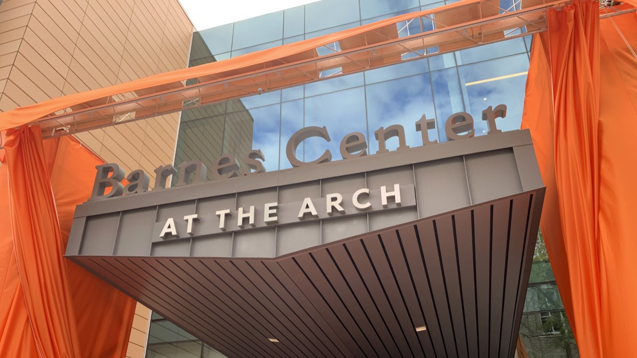 The main entrance of the Barnes Center at The Arch.