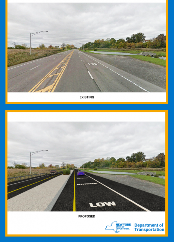 A NYSDOT rendering displaying the change from four lanes to two.