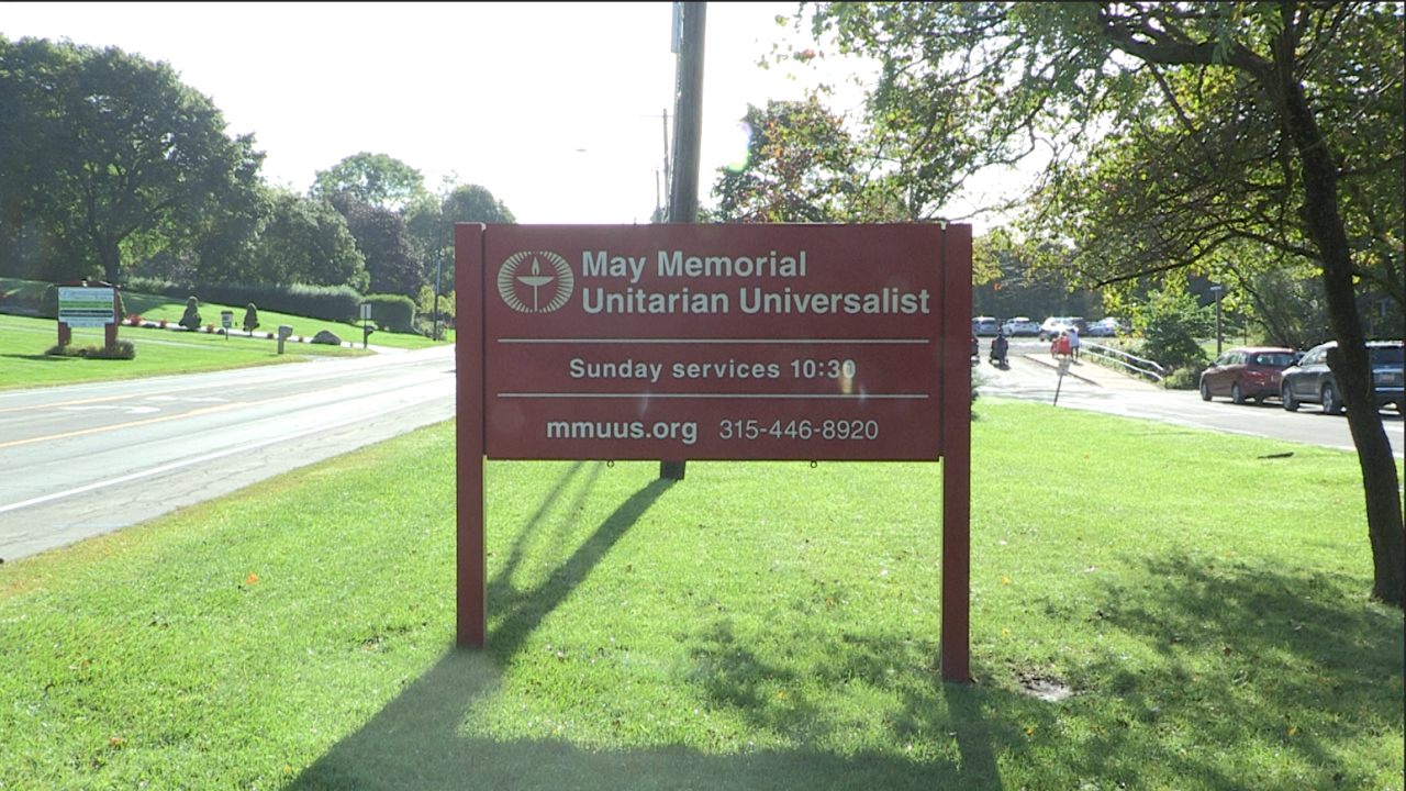 The May Memorial Unitarian Universalist Society found a burned gay pride flag on their property on Sunday