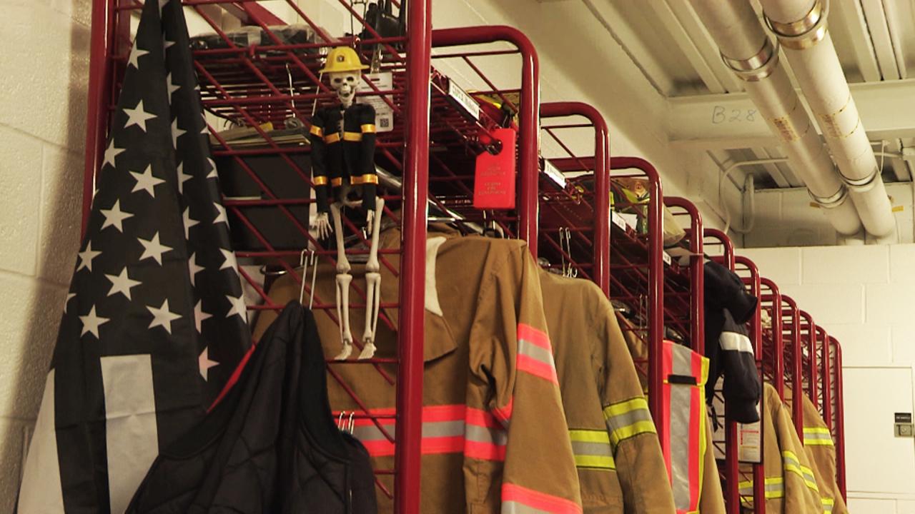 Cicero Fire Department Uniforms in Locker Room