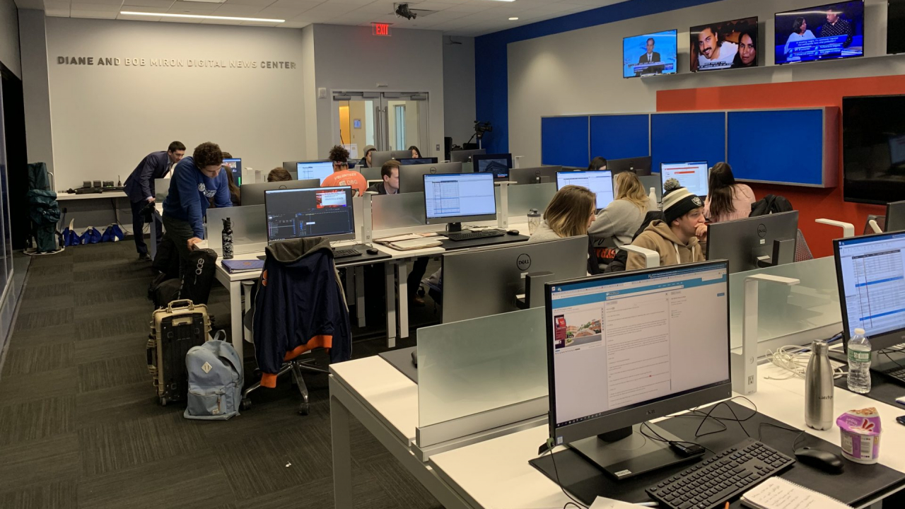 The NCC newsroom with students working