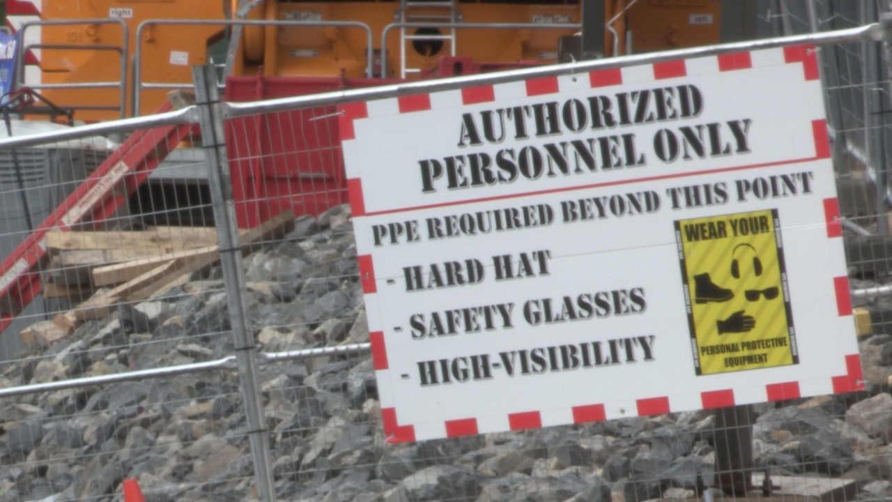 A warning sign prohibiting people near construction outside of the Dome.