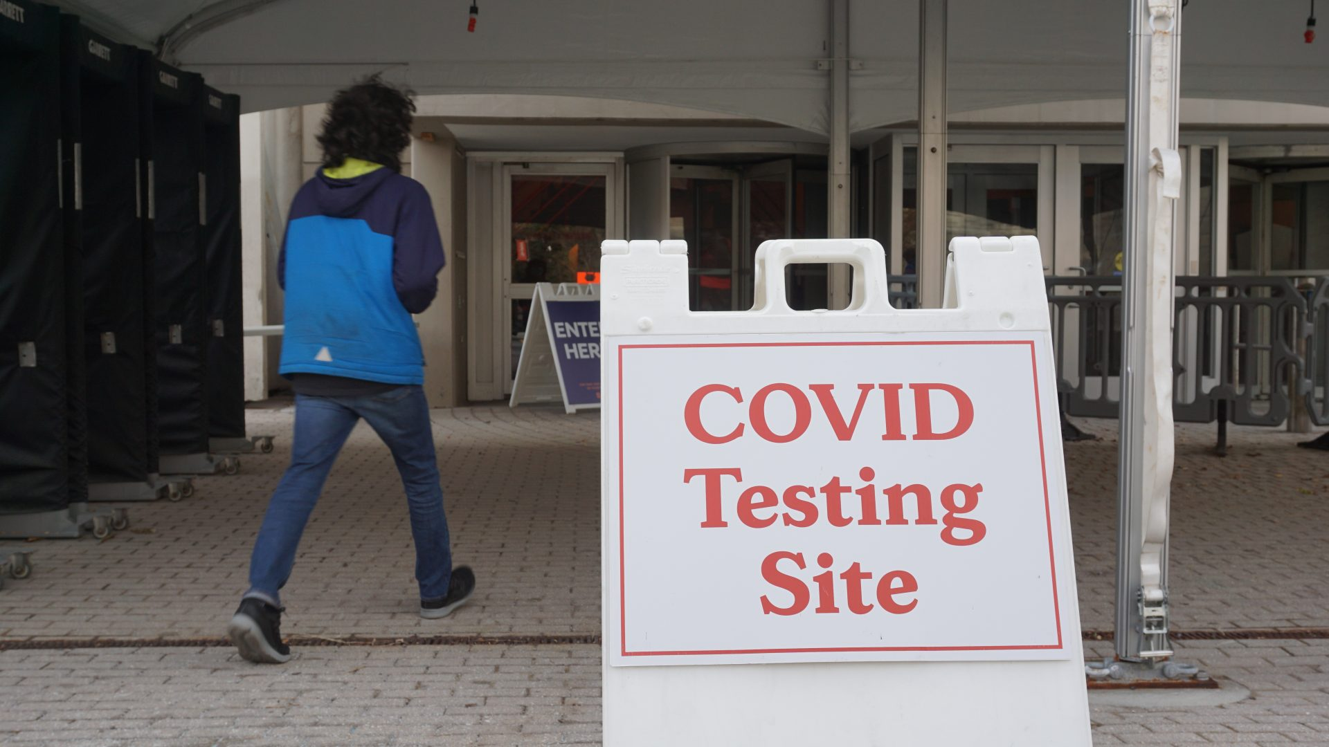 COVID testing sign outside the Carrier Dome