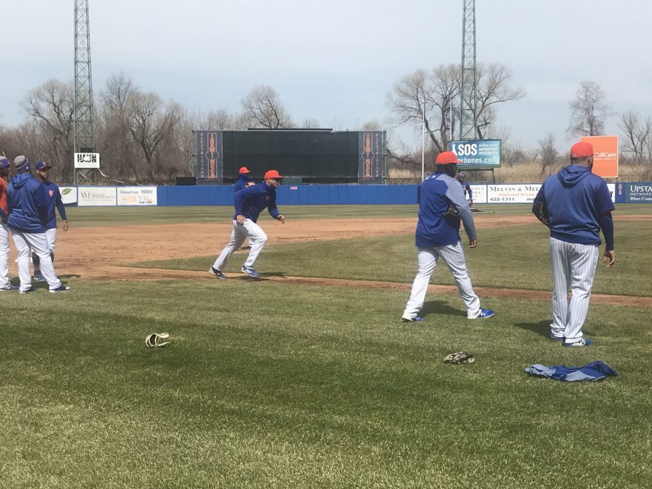 Tim Tebow practices base running at the Syracuse Mets spring training.
