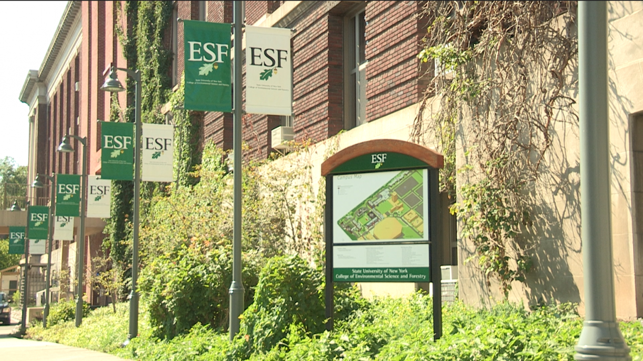 A picture of a map on the campus of SUNY-ESF