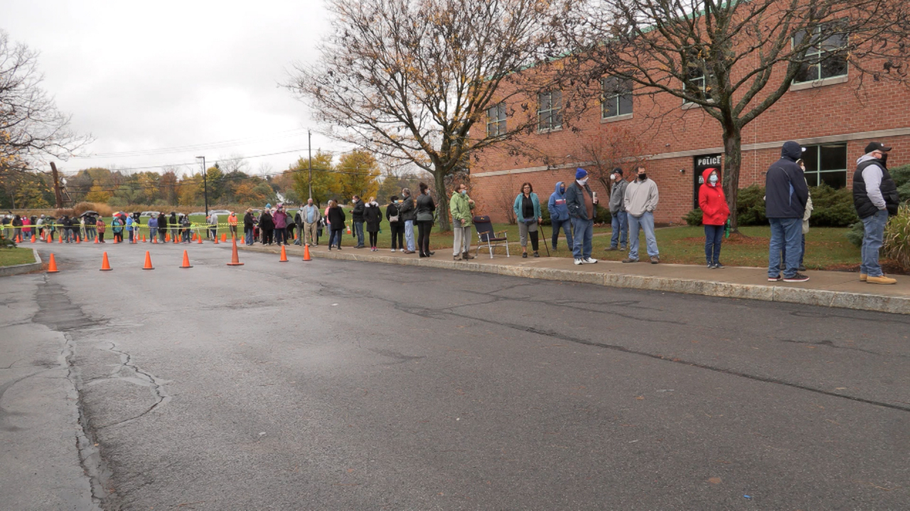 Early voters line up to cast their ballots at DeWitt Town Hall.