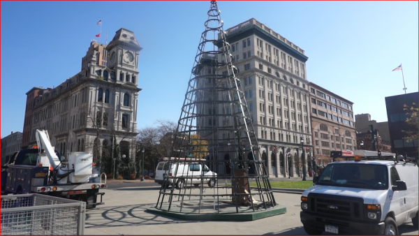 The Christmas tree in Clinton Square.