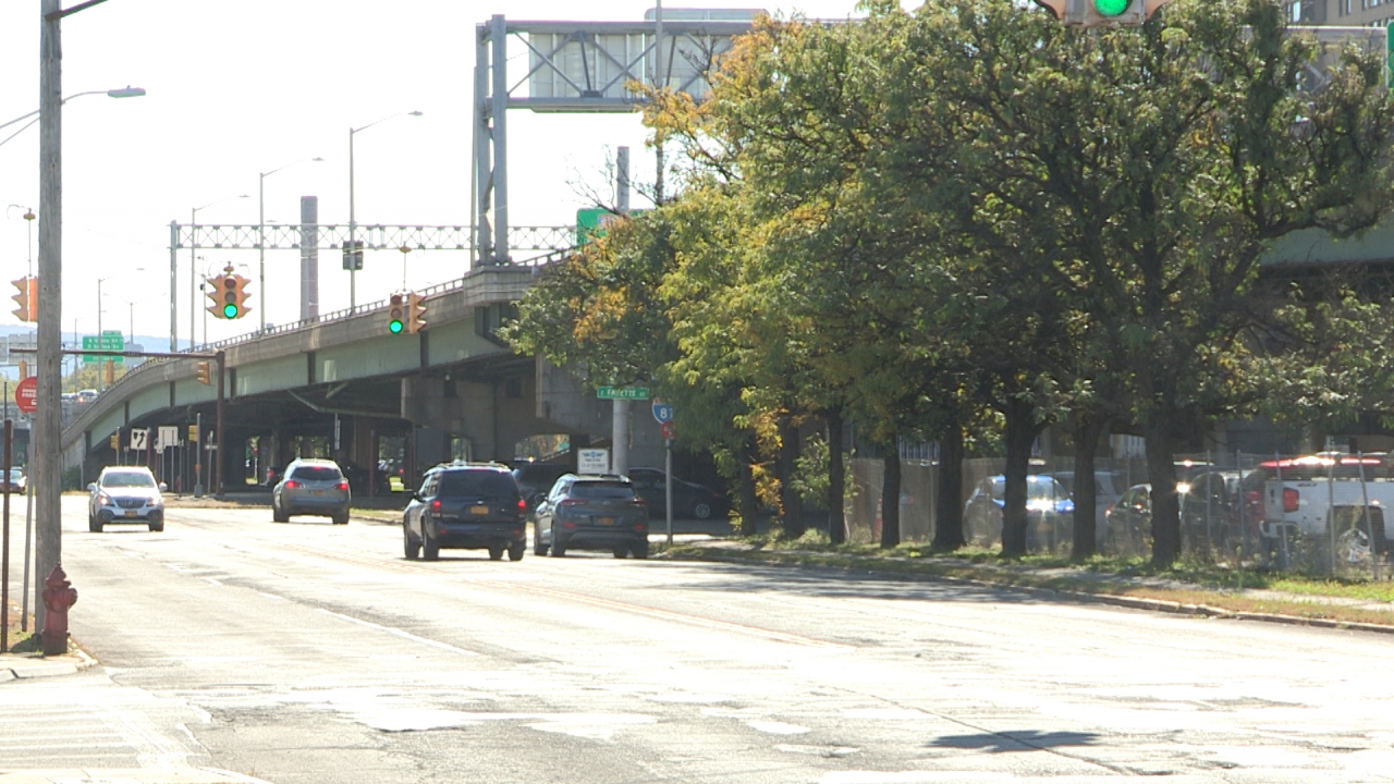 Cars drive along a busy road underneath a long bridge. Trees line the road.