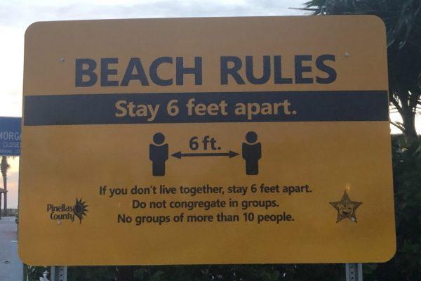 A beach rules sign at Belleair Beach near Clearwater.