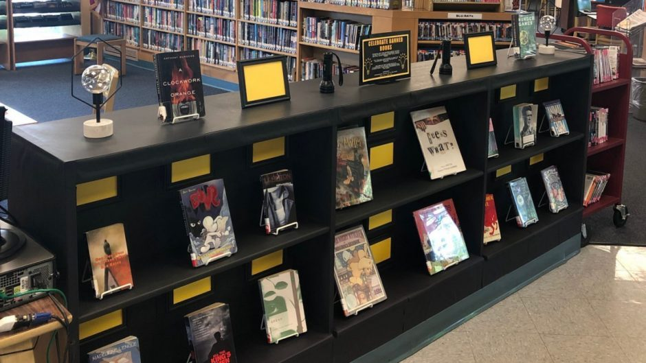 The interactive banned books display
