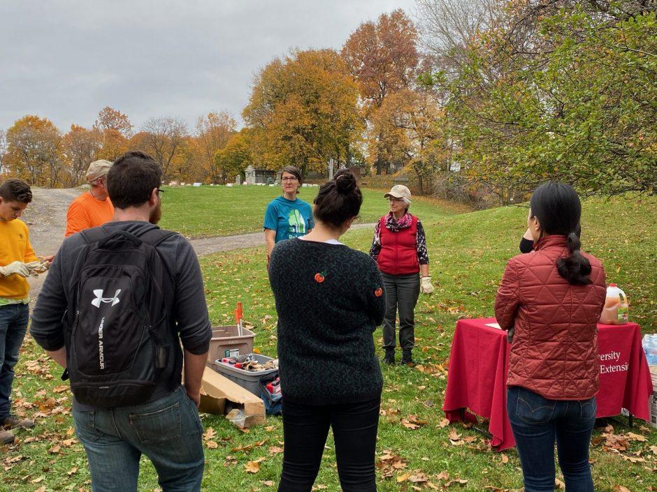 volunteers gathering in cemetery
