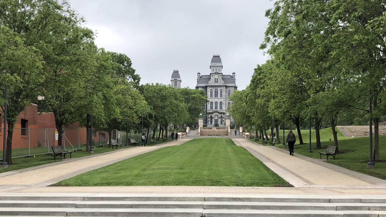 Syracuse university steps, grass and trees
