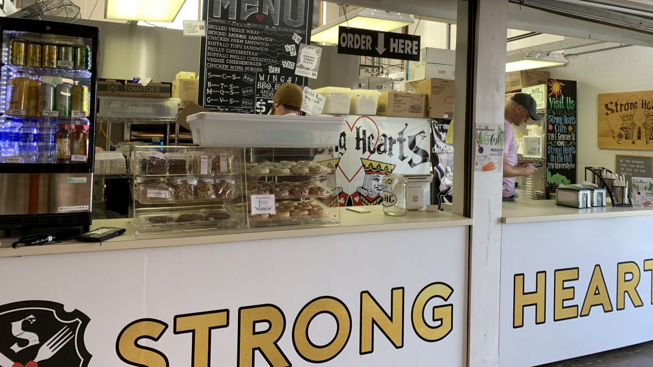 Strong Hearts Cafe store front at the fair