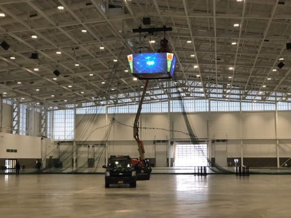 The Exposition Center being set up for the Drone Race this weekend