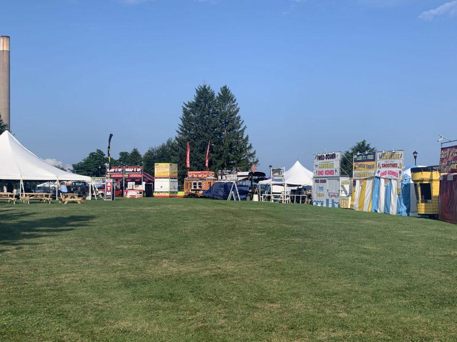 Vendors set up for the festival