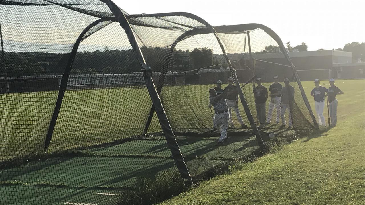 Onondaga Valley players taking batting practice.