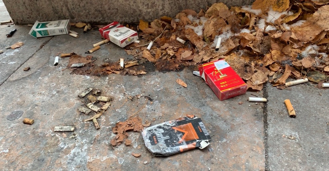 Empty packs of cigarettes on the ground
