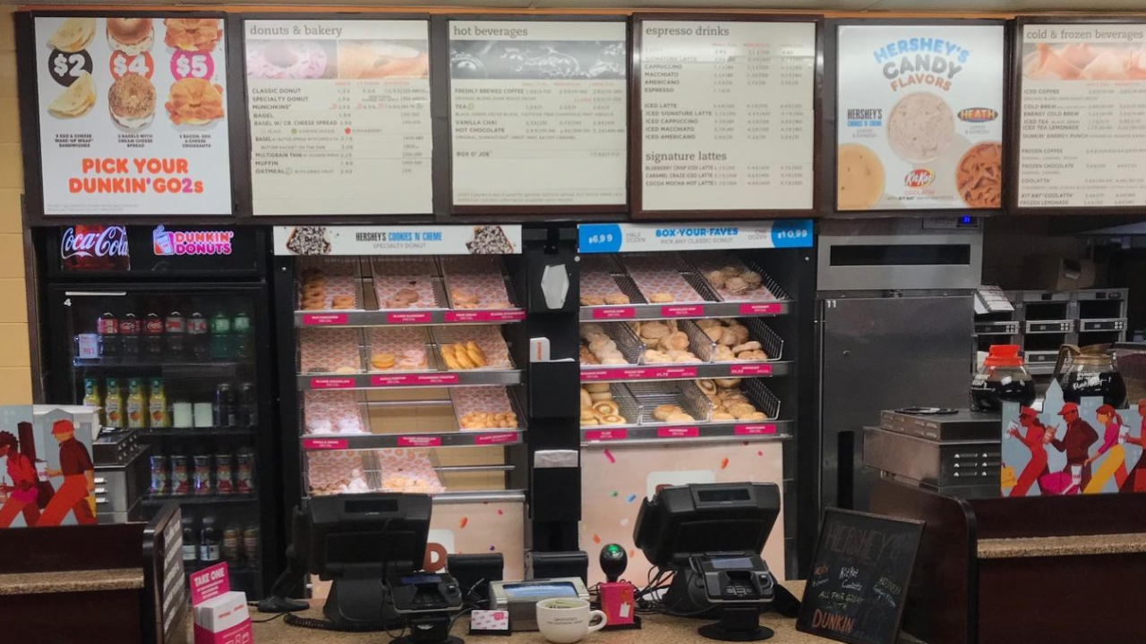 The Dunkin' menu with donuts, bagels and muffins.