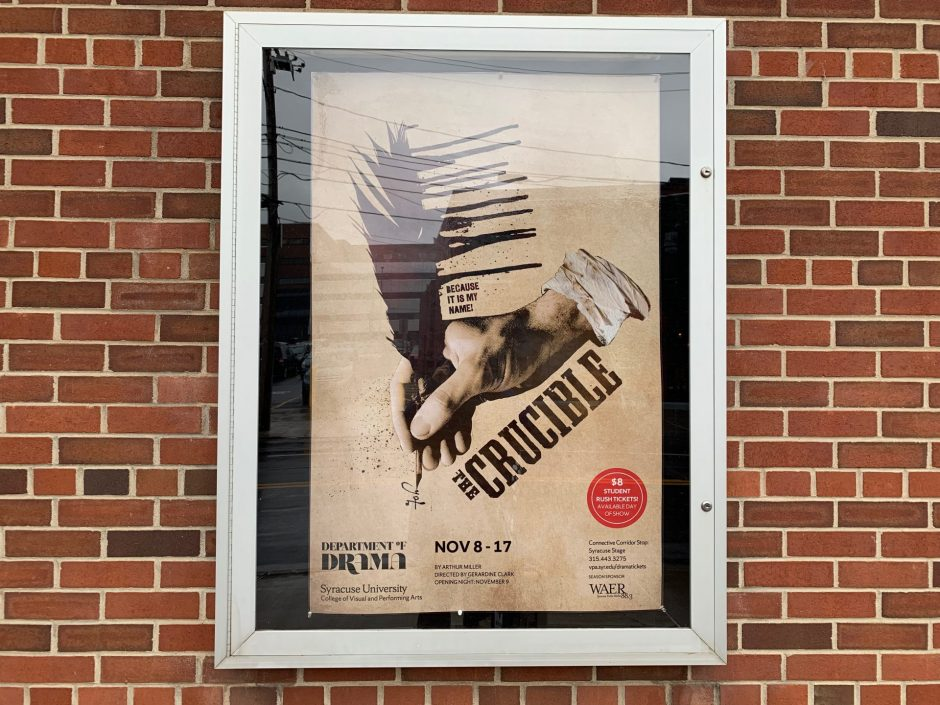 Image for a poster of The Crucible outside Syracuse Stage.
