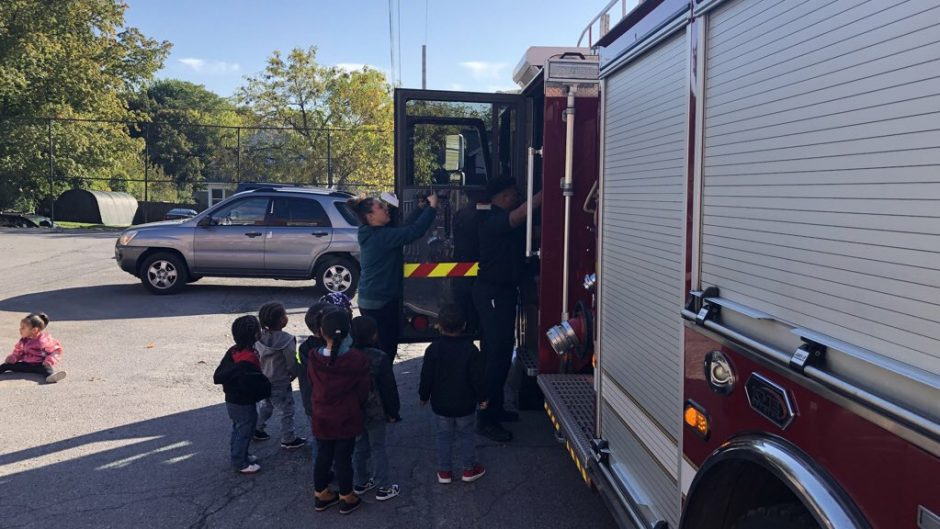 Children up close with a fire truck
