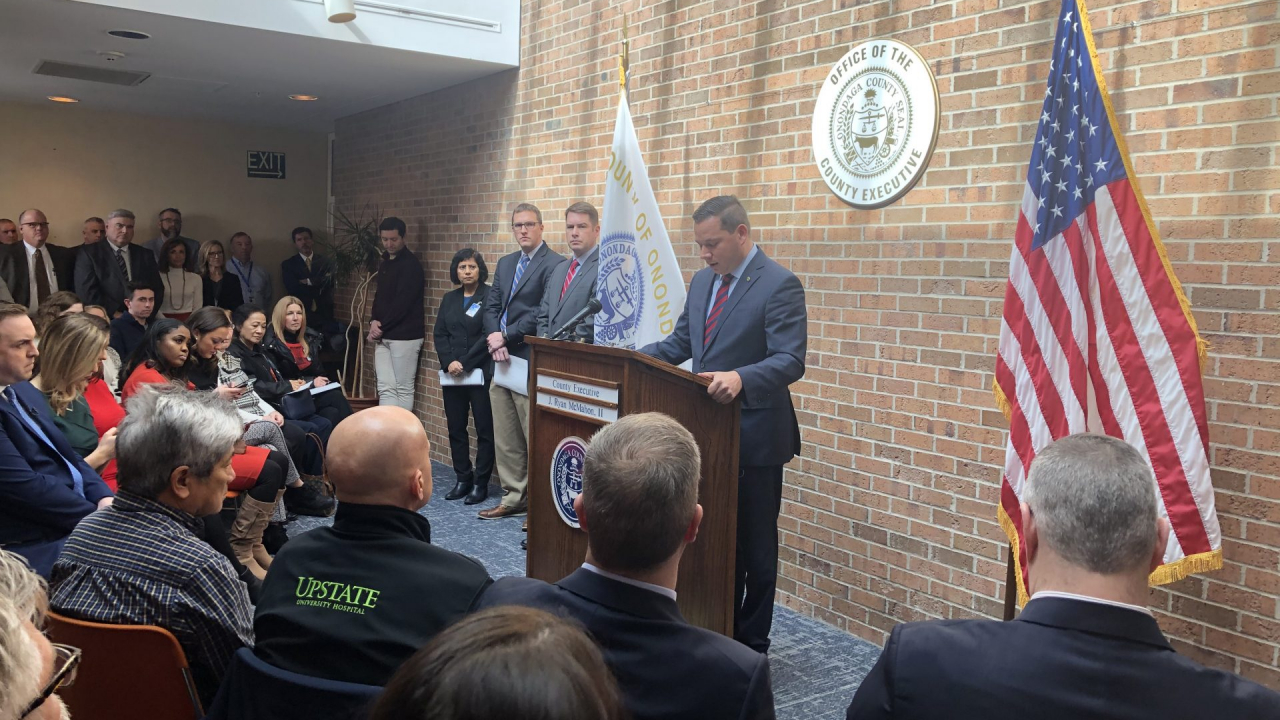 Ryan McMahon and other city leaders held a press conference on Wednesday to address the coronavirus.