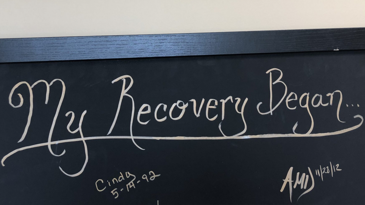 The recovery board at Prevention Network in Syracuse.