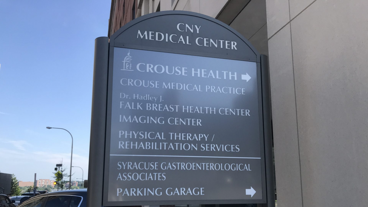 A gray sign for CNY Medical Center