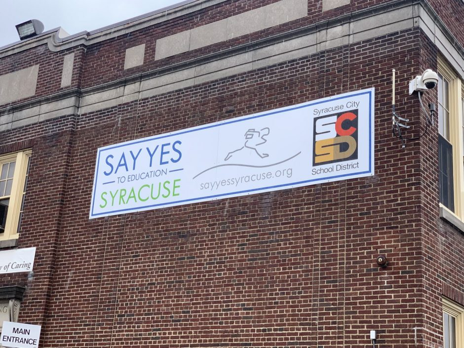 """This is the building with the """"Say Yes to Education"""" sign on it."""