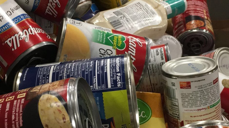 cans of soup and non-parishables