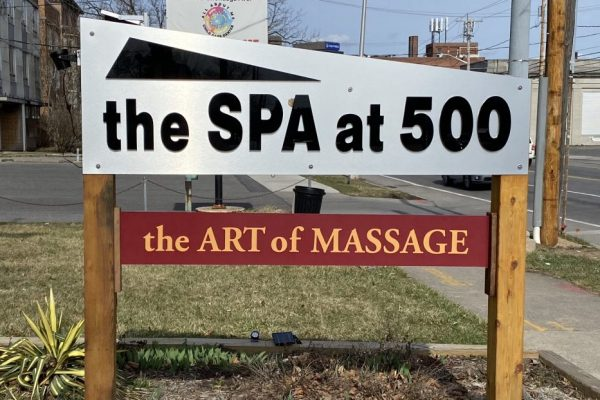 The Spa at 500 in Syracuse Welcome Sign