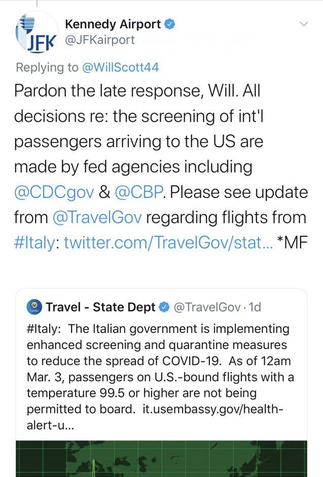JFK Airport Tweet