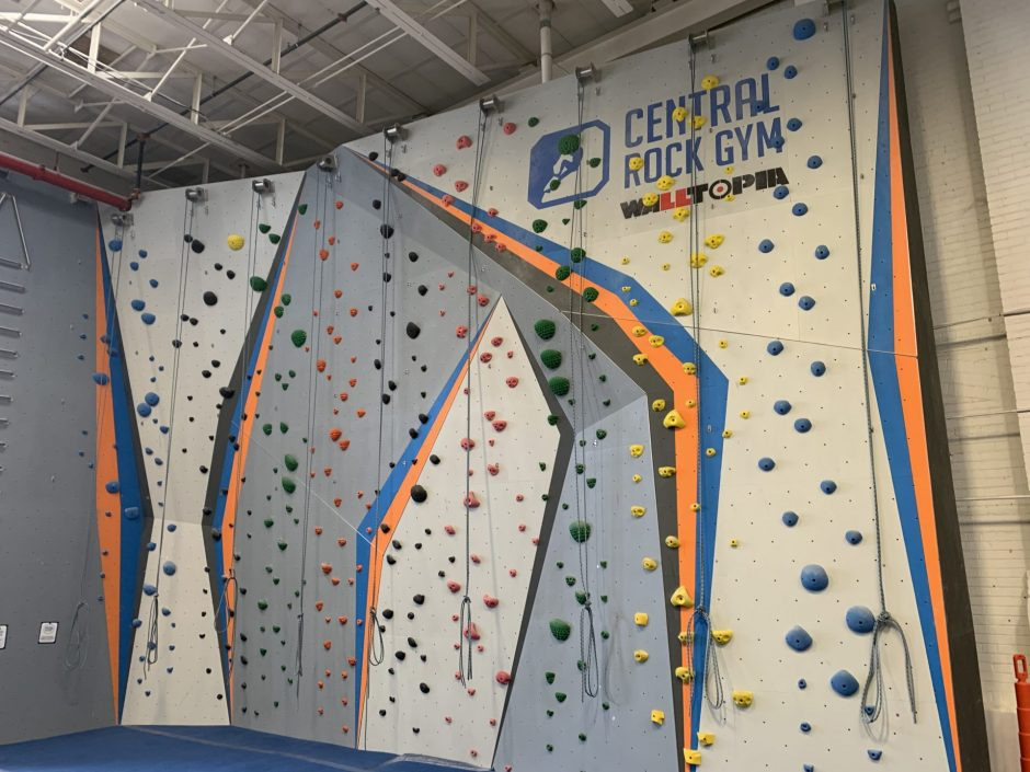 wall with central rock gym on top right corner