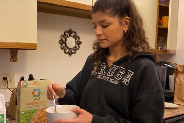 Sophie Akal eating cereal