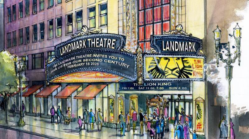 An artist's rendering of the Landmark Theatre's new marquee