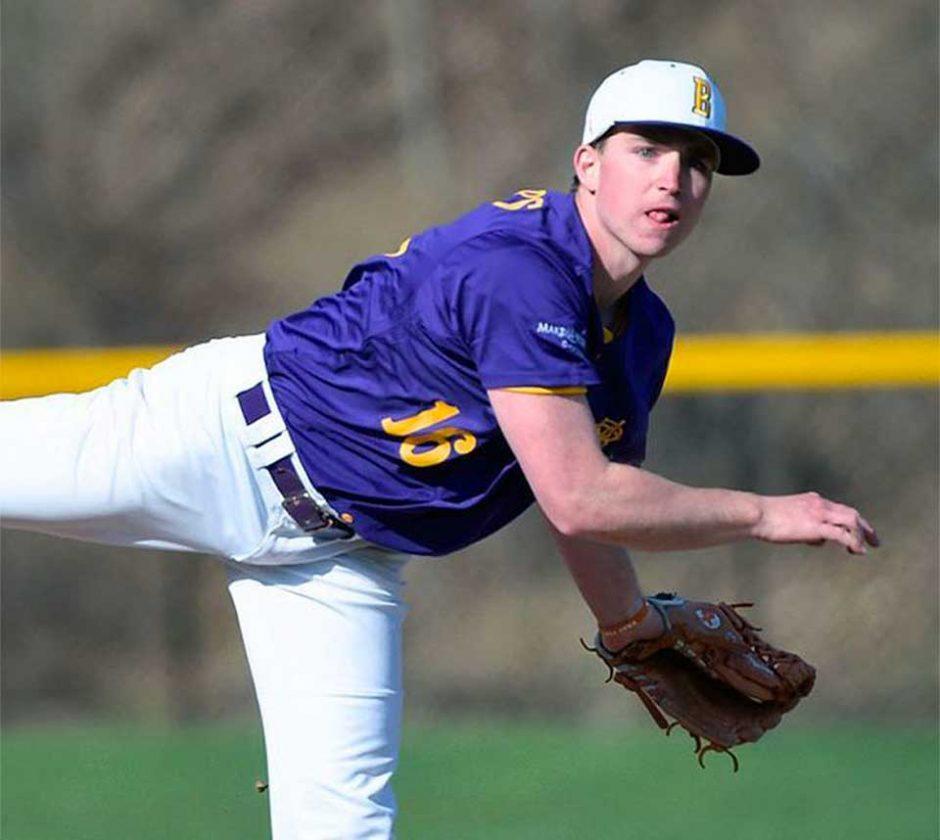 Jack Sheridan pitching a baseball.