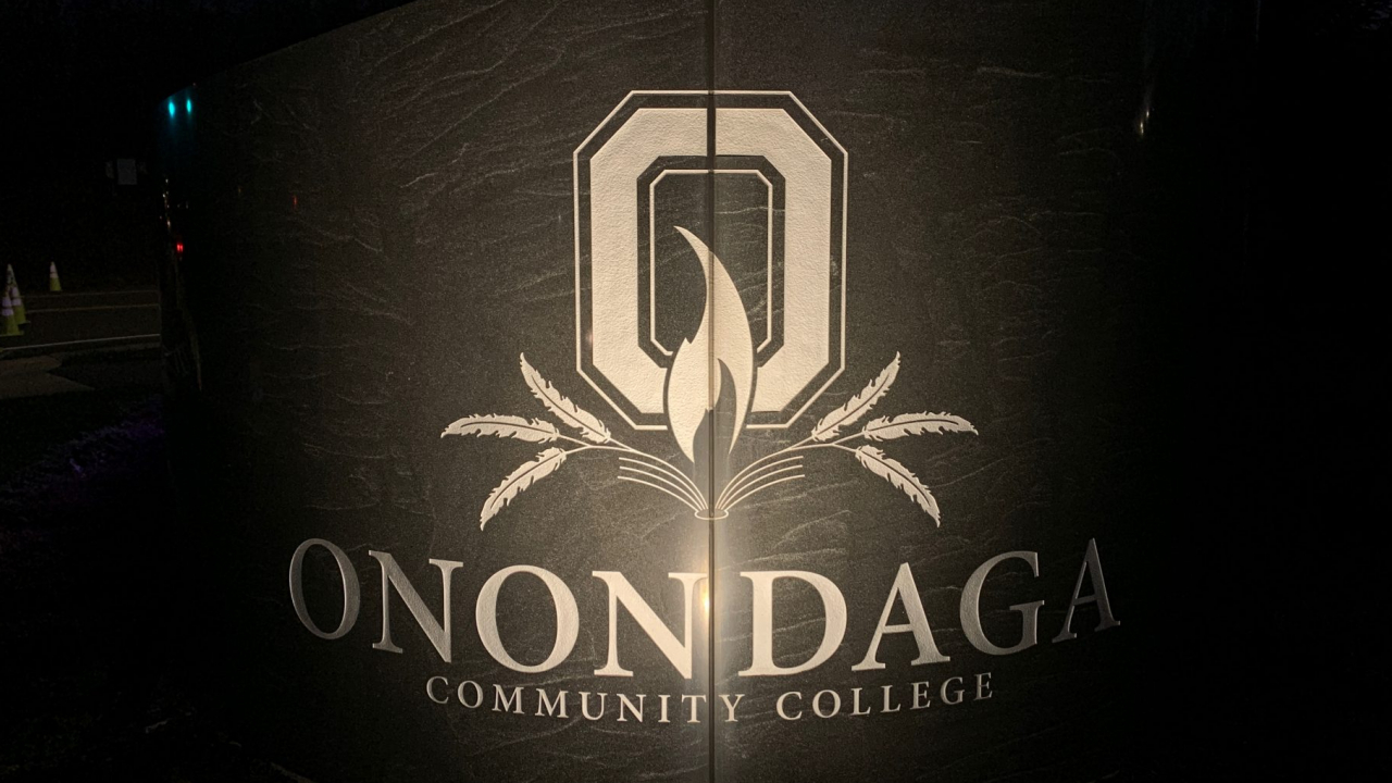The Onondaga Community College sign roadside.