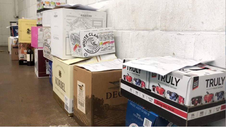 Orders ready to be picked up at a local liquor store.