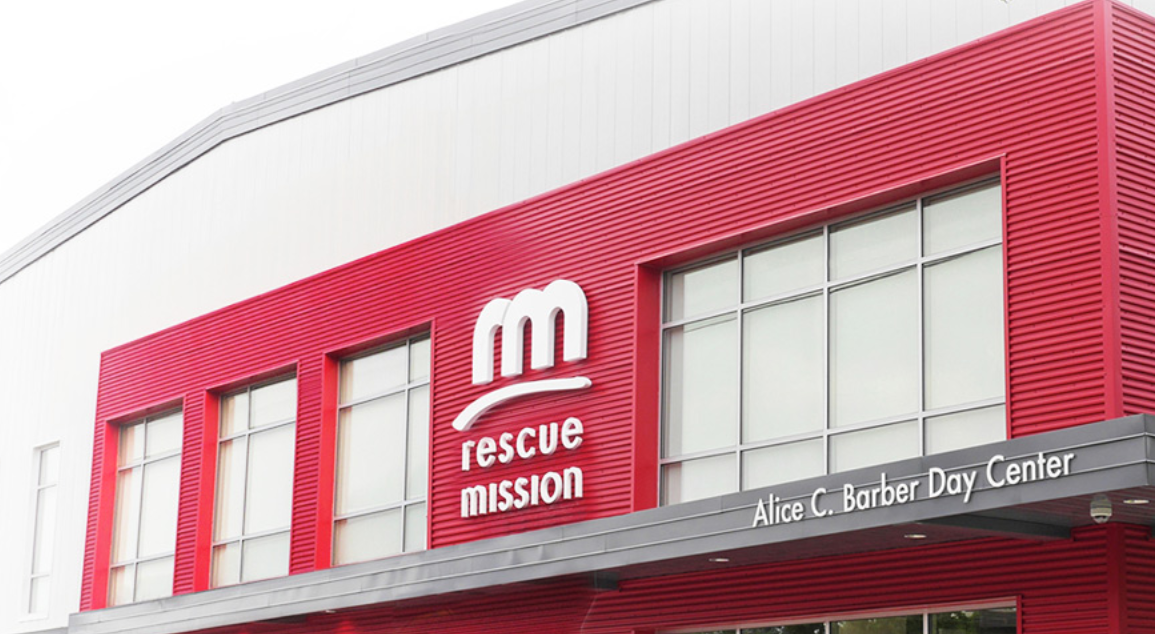 The front of the Rescue Mission.