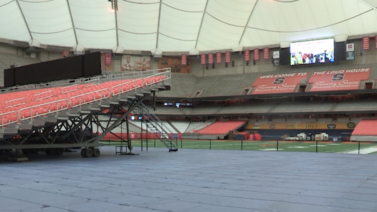 Interior of Carrier Dome with half football field