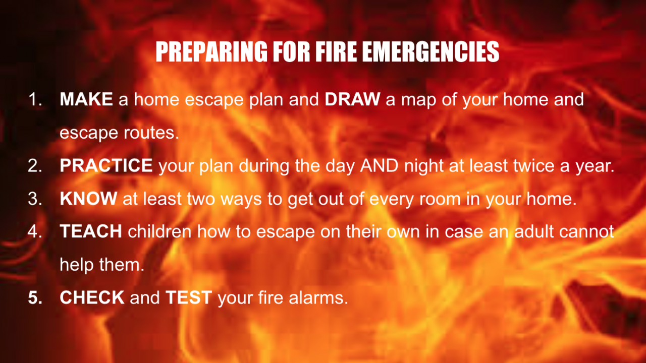 A graphic displays the NPFA's five steps to prepare you for fires.
