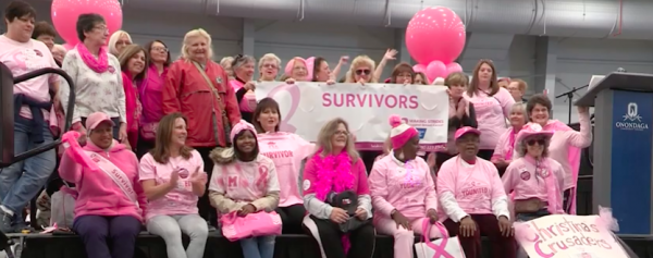Breast Cancer survivors were honored on stage at the fundraising walk on Sunday, October 13.