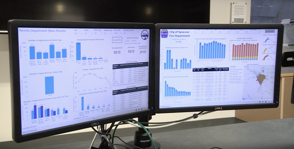 Two computer screens with dashboards of data. There are colorful graphs and tables
