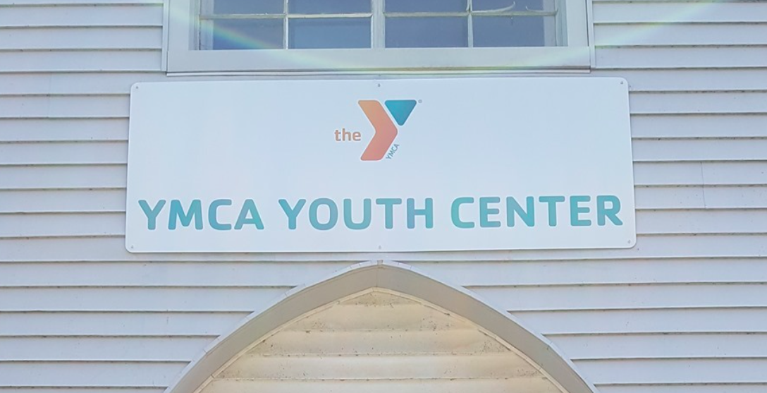 A sign has been put up on the front of the new YMCA Youth Center and Skate Park at the former Grace Evangelical Lutheran Church at 201 E. Sixth St., Oswego, N.Y.