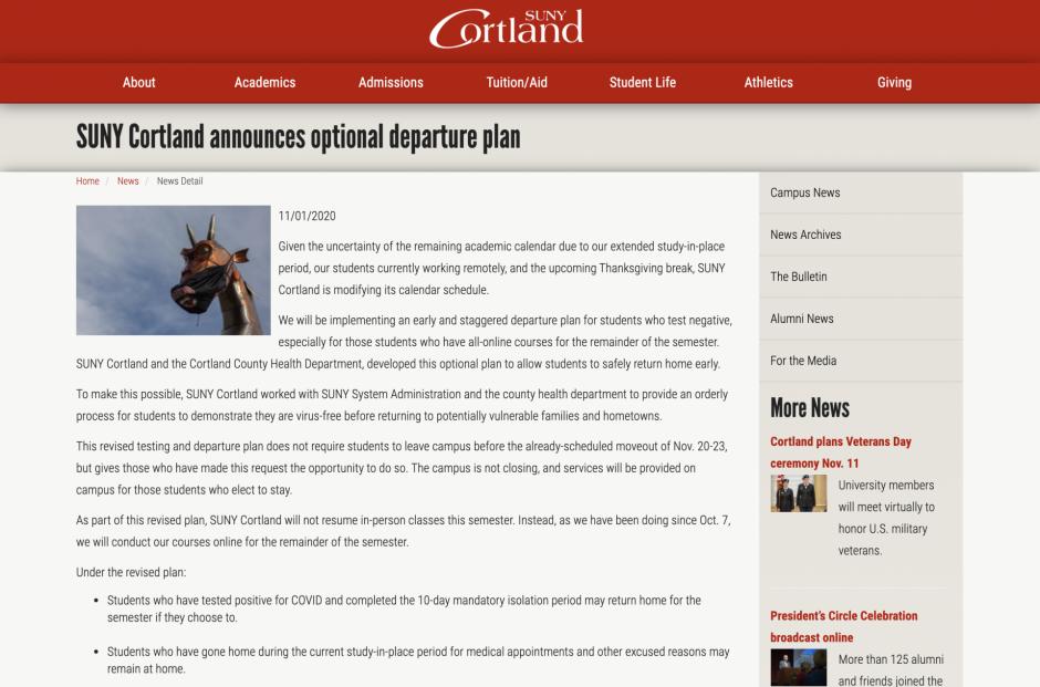 SUNY Cortland's Website